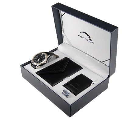 Formula Men's Collection Wrist Watch Gift Box Set with Card Holder and Magnetic Money Clip - Black