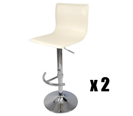 2 x Leather Bar Stool Kitchen Furniture Chairs - Beige - FX-1089_BGx2
