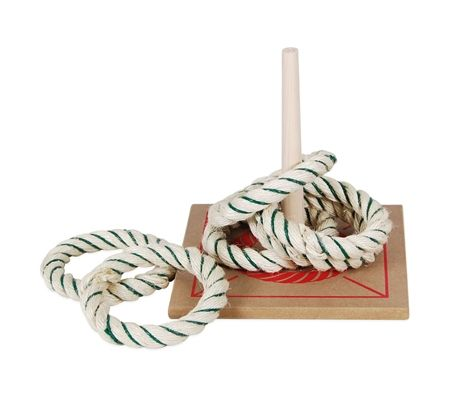 Regent Official 6 Quoits Set  Rope Ring Toss / Wooden Base