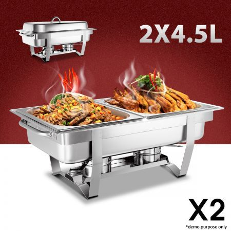 bain marie bow chafing dishes 4x45l ss buffet food warmer stackable 2 sets