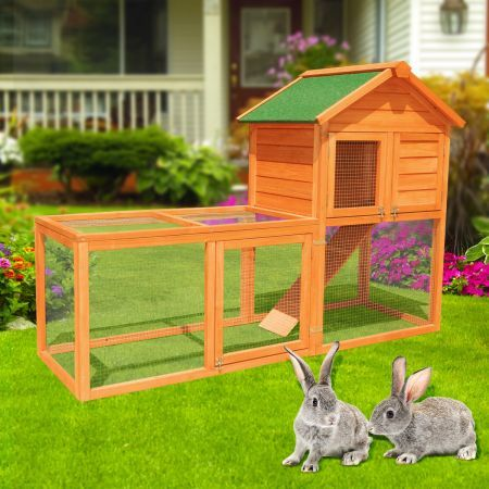 Two level rabbit guinea pig hutch crazy sales for Free guinea pig hutch