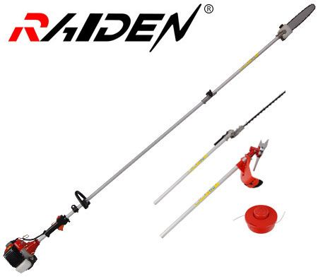 Raiden 3.25m 4 in 1 Power Tool - Chainsaw Hedge Trimmer Nylon Blade Brush Cutter