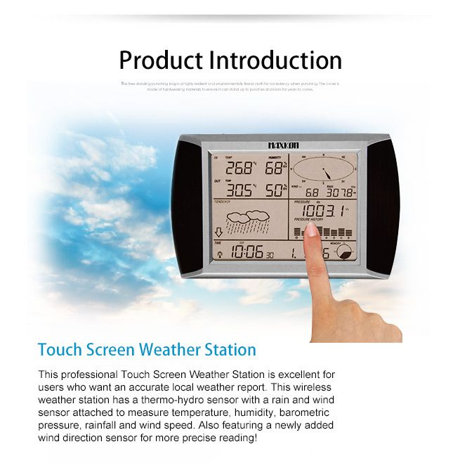Maxkon Wireless Touch Screen Weather Station Thermometer w/ PC Software