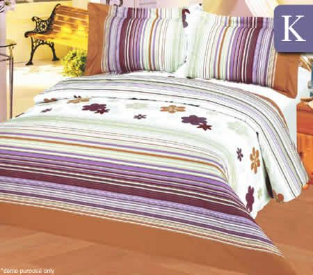 King Bed Size 100% Cotton 200TC 3 Piece Quilt Doona Cover + 2x Pillow Cases Set - SDB07117