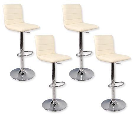 4 X Leather Bar Stool Kitchen Furniture Chairs Beige