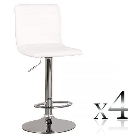 4 x PU Leather Bar Stool Kitchen Furniture Chairs - White - FX-1010B_WHx4