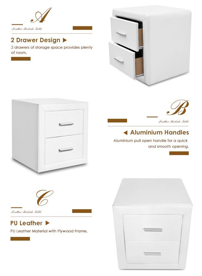 White pu leather bedside tables crazy sales white pu leather bedside tables watchthetrailerfo