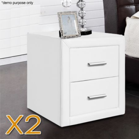 Set of white pu leather bedside tables crazy sales set of white pu leather bedside tables watchthetrailerfo