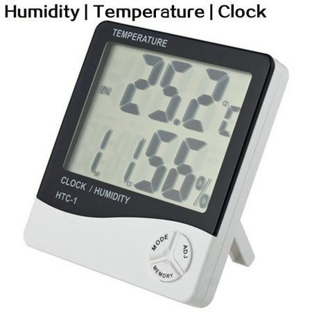 Digital LCD Temperature Hygrometer Thermometer Humidity Meter Clock Alarm