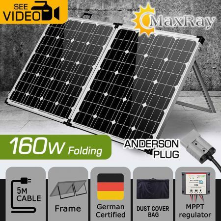 Free Shipping! MaxRay 12V 160W Folding Solar Panel Kit