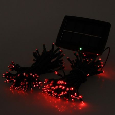 Red solar string lights