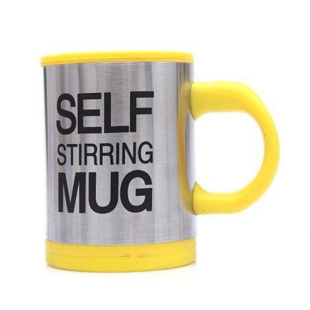 Automatic Coffee Mixing Cup/Mug Stainless Steel Self Stirring Electic Coffee Mug Yellow