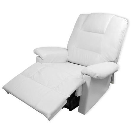 Comfortable PU Leather Massage Lounge Chair Recliner with Remote Control - White