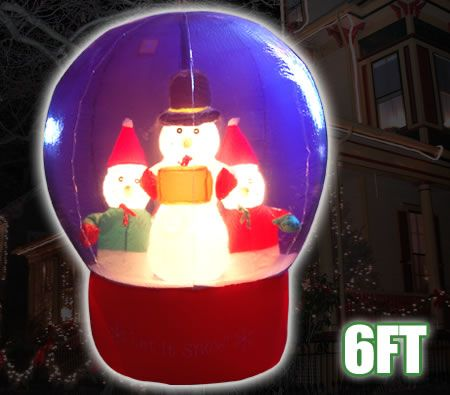 Huge 6 Ft Tall Inflatable 3 Snowman Animated Snowglobe Crystal Ball Christmas Xmas Light Up Decoration & Pump