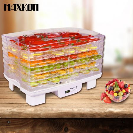 Maxkon Rectangular Food Dehydrator with Timer LCD White