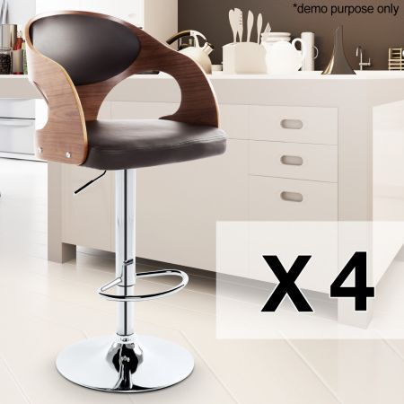 Set of 4 Round Wooden Bar Stools