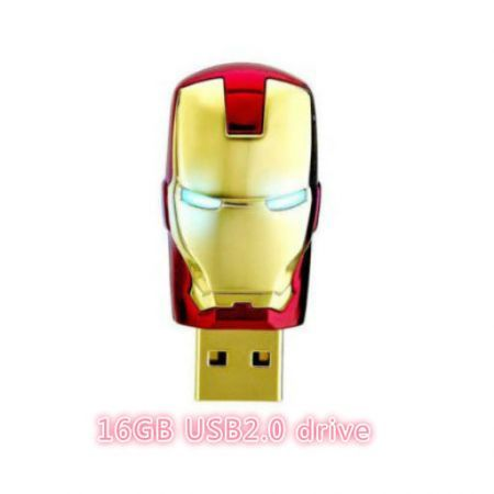 16GBNew Iron Man Model USB 2.0 Memory Stick Flash Drive Blue Light Eye