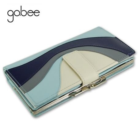 Gabee Designer Medium Sized Genuine Soft Leather Ladies Wallet Purse Clutch Organizer in Aqua Blue