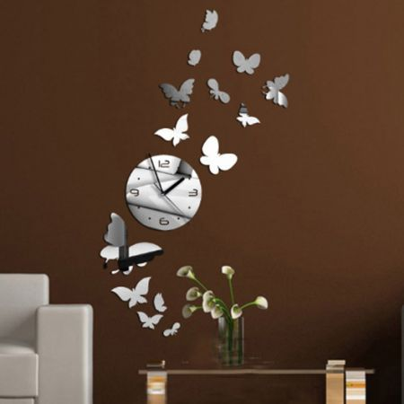 Diy Silver Mirror Clock Wall Sticker Butterfly Decal