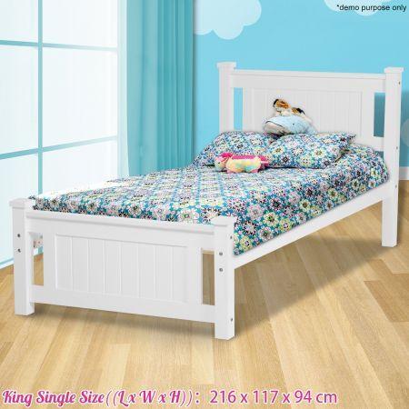 Kids White Wooden Bed Frame King Single Crazy Sales