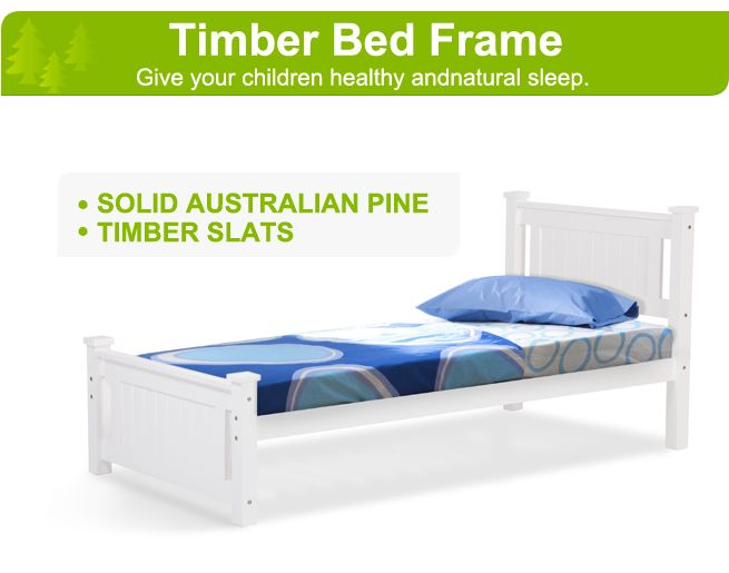 Kids White Wooden Bed Frame Single
