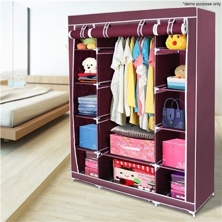 Red 5-Level Non-Woven Cloth Storage Wardrobe