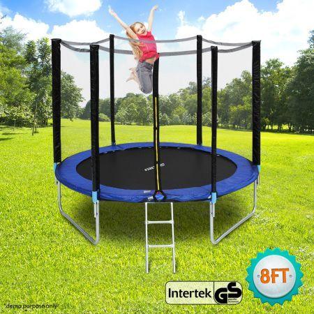 genki 8ft trampoline with 5ft safety enclosure crazy sales. Black Bedroom Furniture Sets. Home Design Ideas