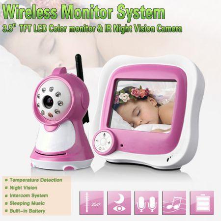 "Wireless Boy TFT Night 2.4G 3.5"" Video Talk Baby Monitor Camera Safety Health"