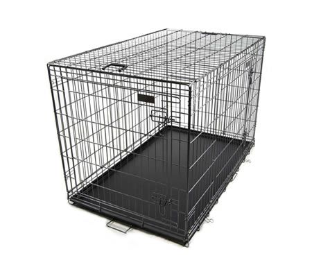 "Collapsible Dog Crate Pet Cage XXL Size 48"" with Handles, 2 Gates, ABS Tray - Black Vein"