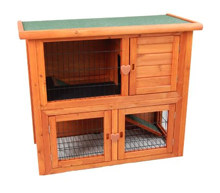 Rabbit Guinea Pig Hutch Cage - 2 Level Pet Outdoor Town House Cage with Run - Cedar Wood