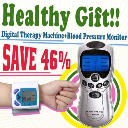8 Modes Full Body Digital Therapy Machine Vibrate Relaxing Acupuncture Massager + Free Blood Pressure Monitor