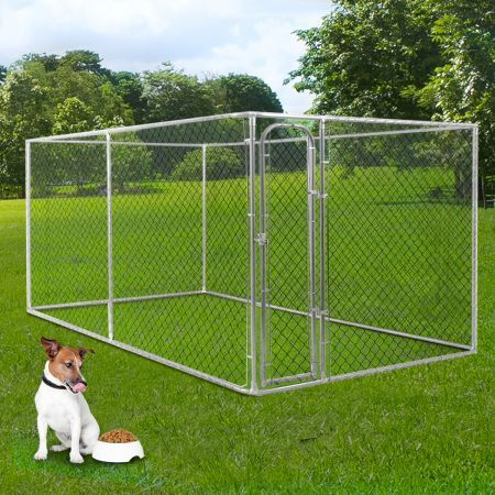 Dog kennel run pet enclosure run animal fencing fence 4m for Dog fence enclosure