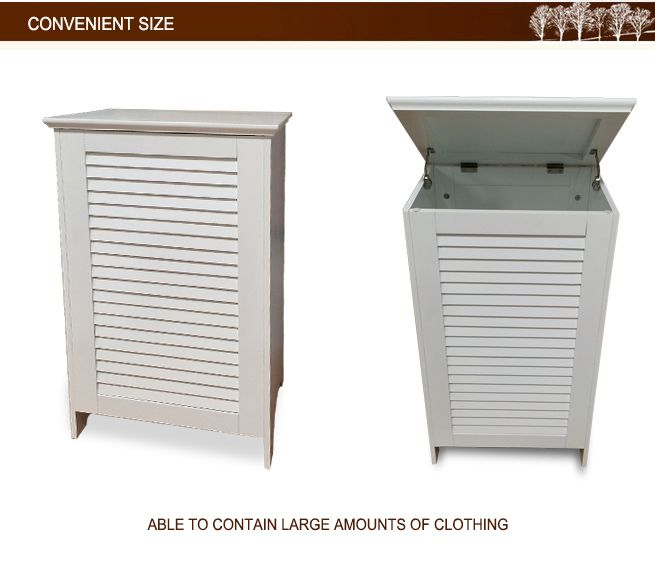 Wooden Laundry Hamper White
