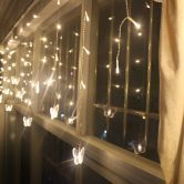 Warm White 16 Butterfly 104 Led Curtain String Fairy Light 2X1M Xmas Party