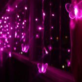 Pink 16 Butterfly 104 Led Curtain String Fairy Light 2X1M Xmas Party