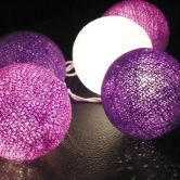 20 Led Purple And White Cotton Ball Fairy String Lights Party Wedding Christams Home Decor