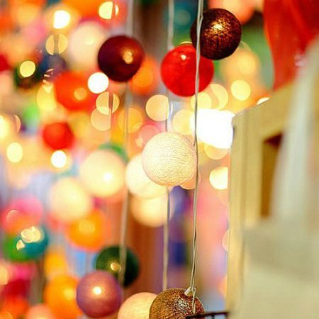 LUD 20 Led Multi-Color Cotton Ball Fairy String Lights Party Wedding Christams Home Decor