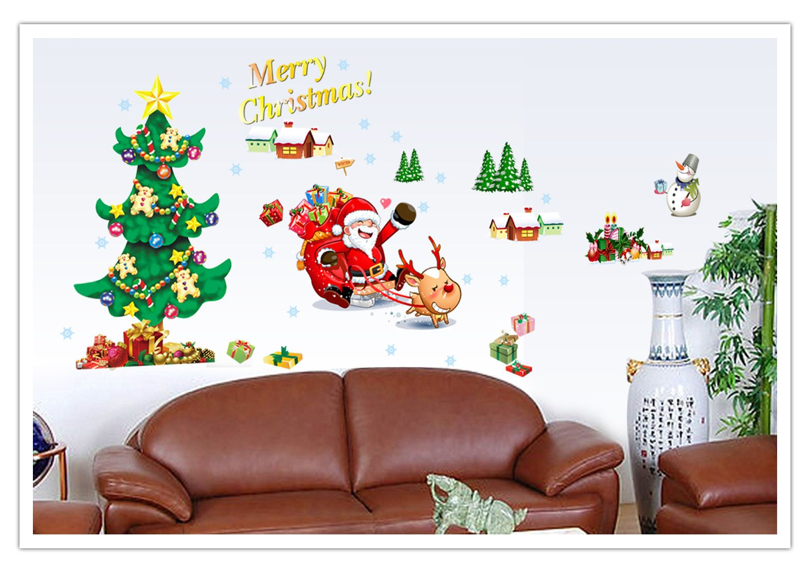 Merry Christmas Quote Wall Art Decal: Merry Christmas Store Decor Removable Wall Sticker