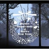 Christmas Decor Snowflakes Ring Stickers Wall Decal Removable Windows Decor