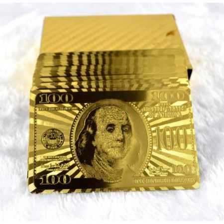 Golden Foil Plated 24K Dollar Gift Cards Deck Casino Playing Poker ...