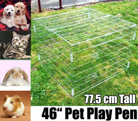 "Medium 46"" Foldable Galvanized Metal Pet Exercise Playpen with Gate and Lid for Dogs / Cats / Rabbits / Guinea Pigs / Ferrets"