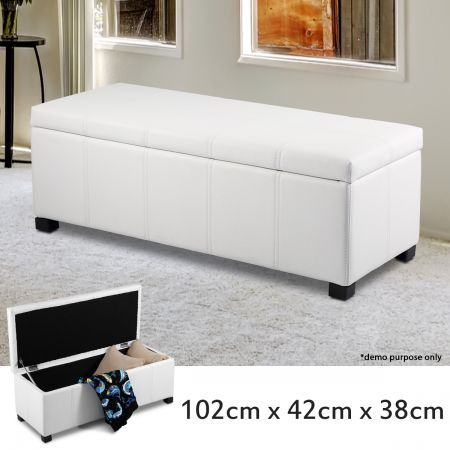 White Pu Rectangular Storage Ottoman Crazy Sales