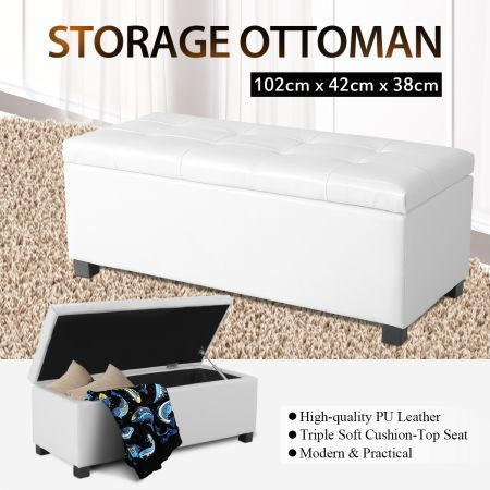 White PU Rectangular Storage Ottoman