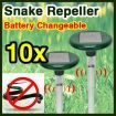 Free shipping! 10 x Solar Powered Snake Pest Repellent  Repeller with LED Light & Changeable Battery