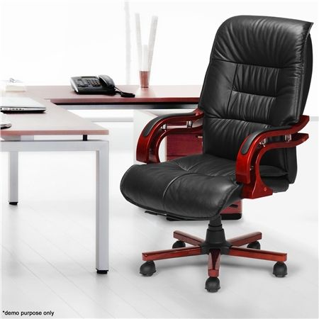 black genuine leather high back office chair | crazy sales