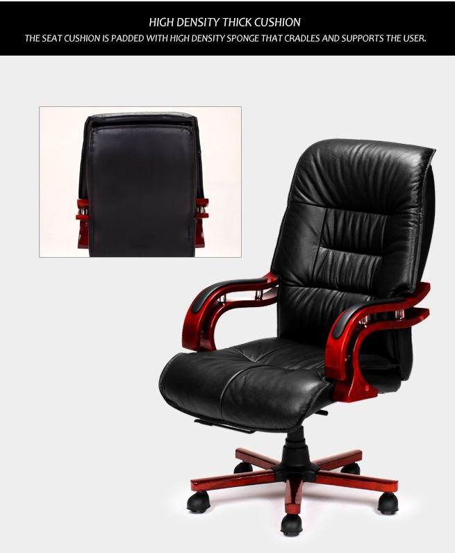 Black Genuine Leather High Back Office Chair Crazy Sales