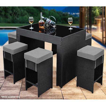 7 Piece Wicker Patio Bar Set Grey Cushions Crazy Sales