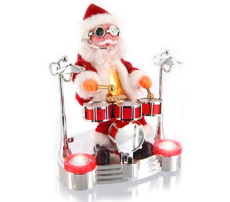 christmas rock n roll santa animated musical decoration moving display xmas ornament with lights
