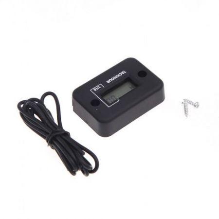LUD Waterproof Digital Tachometer Tach Hour Meter Gauge LCD for 4 Stroke Gas Engine Motorcycle ATV Snowmobile Boat Black