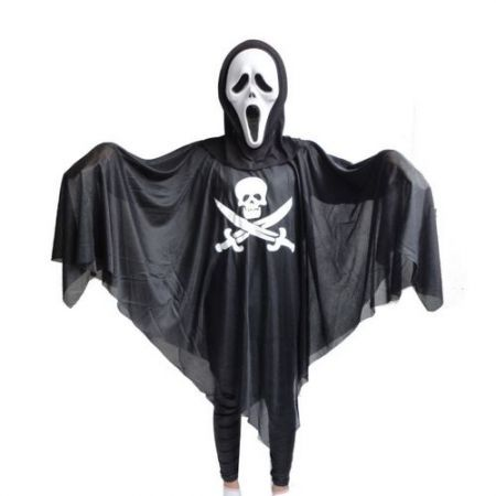 Halloween Masquerade Party Parade Ghost Skull Head Skullcandy Costume Black (Mask is not included)